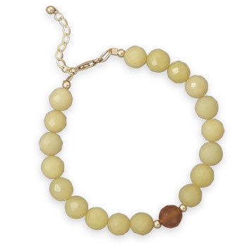 "7.25""+1"" Jade and Agate 14/20 Gold Filled Bracelet"
