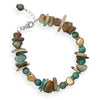 "7.5"" + 1"" Opal, Reconstituted Turquoise and Cultured Freshwater Pearl Bracelet"