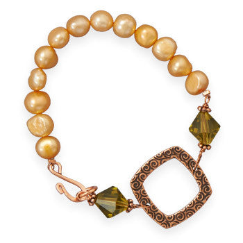 "7"" Copper, Crystal and Cultured Freshwater Pearl Bracelet"