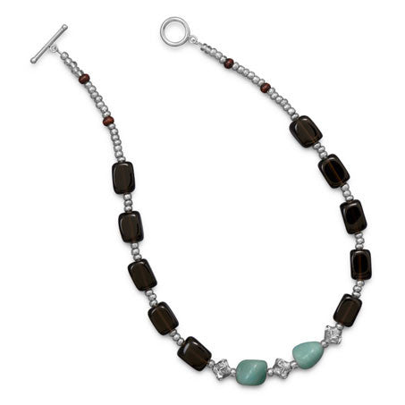 Smoky Quartz and Amazite Toggle Necklace