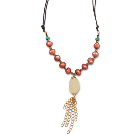 Multistone with Tassel Drop Fashion Necklace