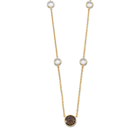 14 Karat Gold Plated Faceted Quartz Necklace