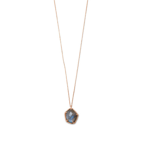 14 Karat Rose Gold Plated Labradorite Necklace