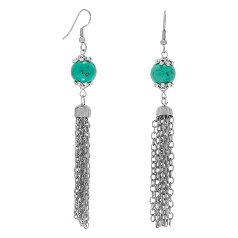 Silver Tone Tassel and Stabalized Turquoise Bead Fashion Earrings