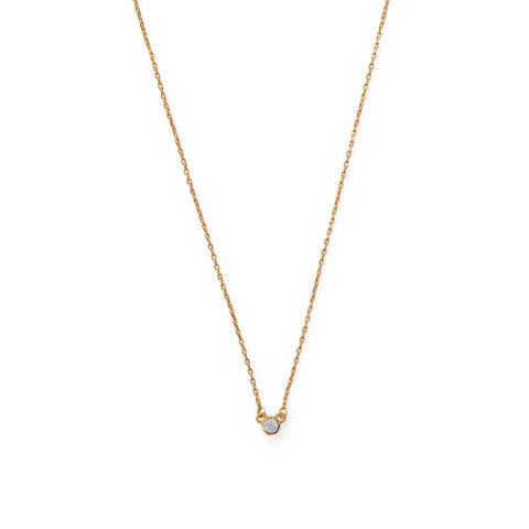 A Kiss of Sparkle! 14 Karat Gold Plated Swarovski Crystal Necklace