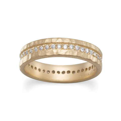 14 Karat Gold Plated CZ Eternity Ring