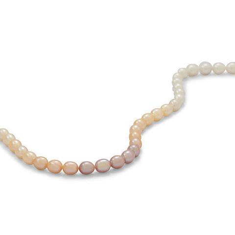 Strand of Graduated Multicolor Cultured Freshwater Rice Pearls