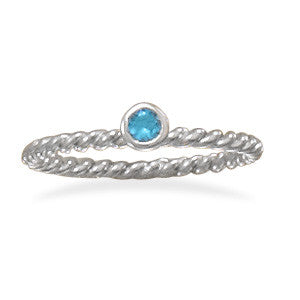 Aqua Glass Stackable December Birthstone Ring