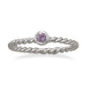Purple Glass Stackable February Birthstone Ring