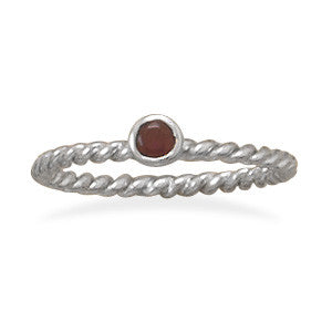 Dark Red Glass Stackable January Birthstone Ring