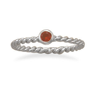 Red Glass Stackable July Birthstone Ring