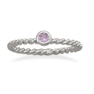 Lavender Glass Stackable June Birthstone Ring
