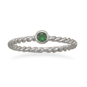 Dark Green Glass Stackable May Birthstone Ring
