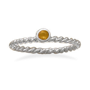 Orange Glass Stackable November Birthstone Ring