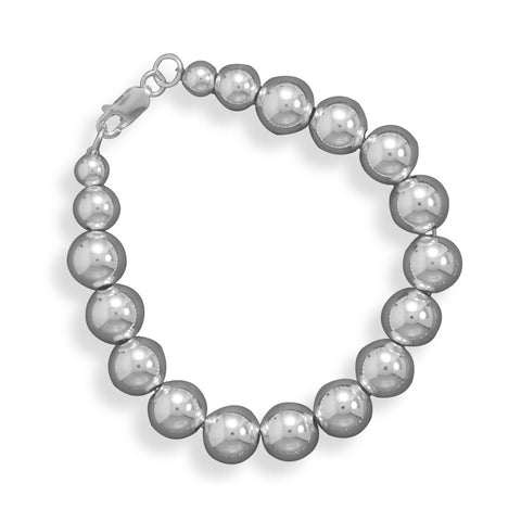"7"" 10mm Sterling Silver Bead Bracelet"
