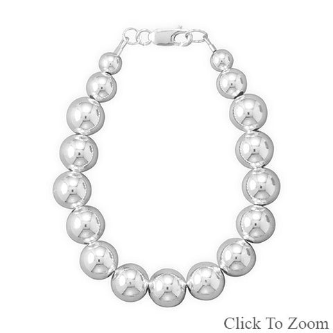 "8"" 10mm Sterling Silver Bead Bracelet"