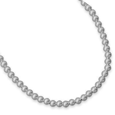 "30"" 6mm Sterling Silver Bead Necklace"