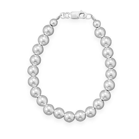 "8"" 7mm Sterling Silver Bead Bracelet"