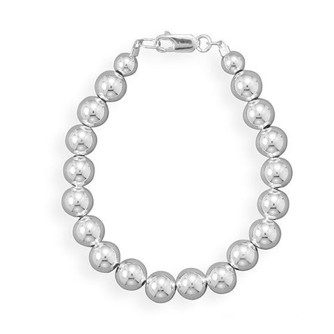 "8"" 8mm Sterling Silver Bead Bracelet"