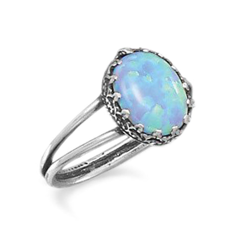 Oxidized Synthetic Blue Opal Ring