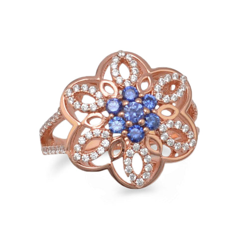 14 Karat Rose Gold Plated CZ Flower Ring