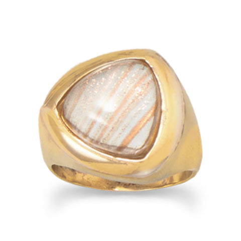 14 Karat Gold Plated Brass Imitation Sunstone Ring