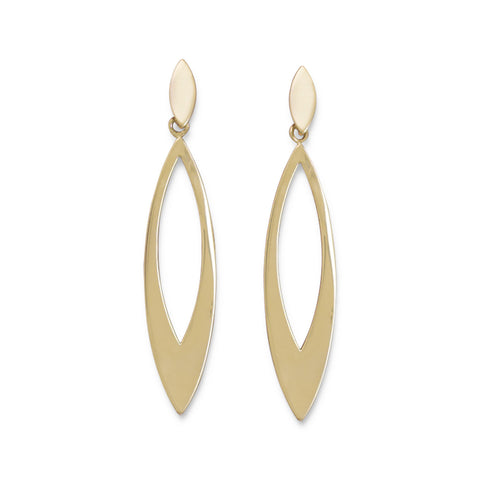 Gold Plated Marquise Fashion Post Earrings