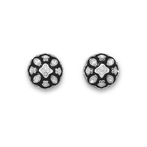 Silver Plated Black Epoxy and Clear Crystal Fashion Post Earrings