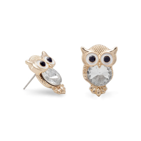Crystal Owl Fashion Post Earrings