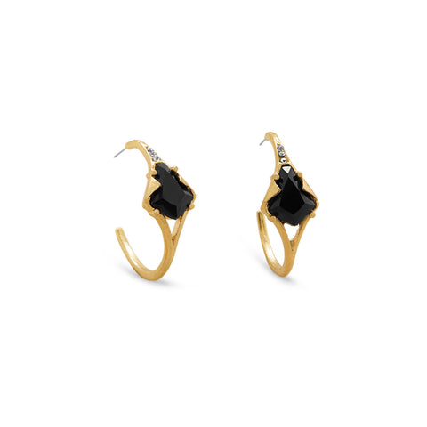 Gold Tone 3/4 Hoop Fashion Earrings with Black Acrylic and Crystal