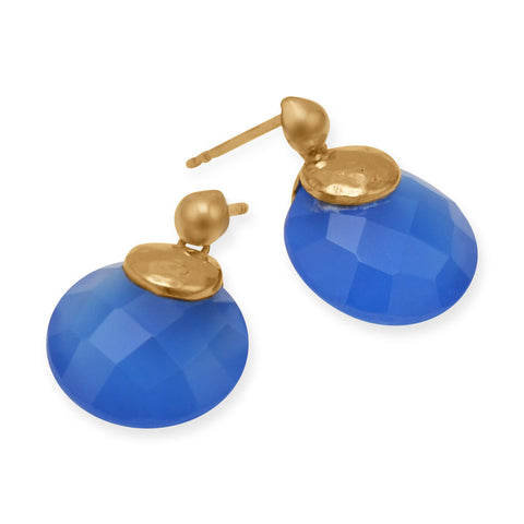 14 Karat Gold Plated Brass Earrings with Blue Chalcedony