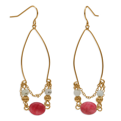 18K Gold Plated Copper Earrings with Pink and White Agate