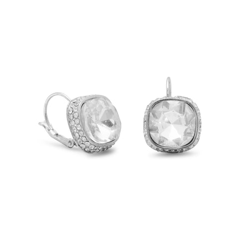Silver Tone Square Crystal Fashion Lever Earrings