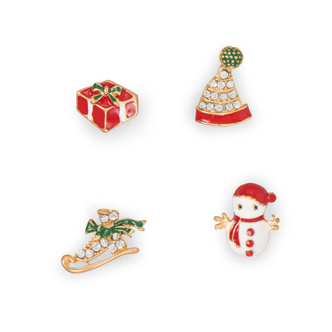 4 Piece Mismatch Holiday Fashion Earrings