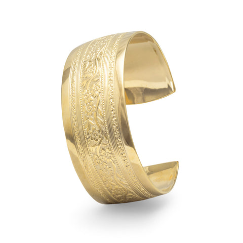 14 Karat Gold Plated Brass Floral Fashion Cuff Bracelet