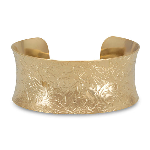 27.5mm 14 Karat Gold Plated Brass Floral Fashion Cuff Bracelet