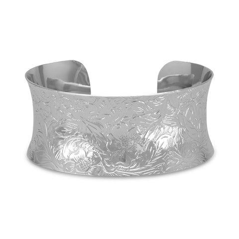 Plated Brass Floral Design Fashion Cuff Bracelet