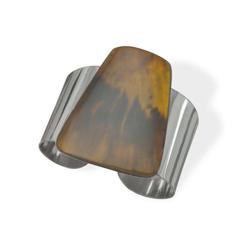 Fashion Cuff Bracelet with Brown Shell