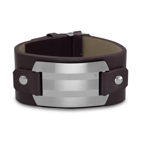 "7""-8.25"" Leather Bracelet with Stainless Steel ID Plate"