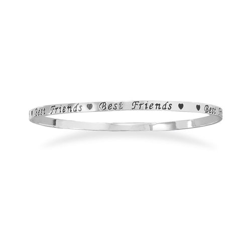 "Silver Plated Brass ""Best Friends"" Bangle"