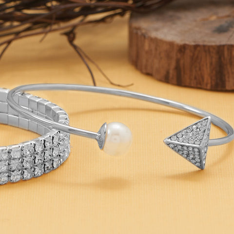 Silver Tone Fashion Cuff Bracelet with Imitation Pearl and Crystal Ends