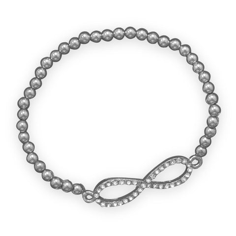 Silver Tone Fashion Bracelet with Crystal Infinity Symbol