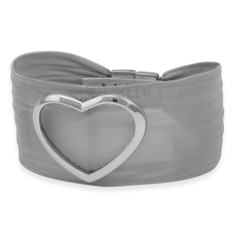 Bold Stainless Steel Mesh Bracelet with Open Polished Heart