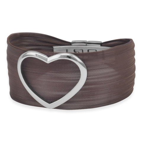 Bold Chocolate Tone Stainless Steel Mesh Bracelet with Open Polished Heart