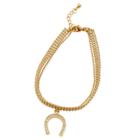 18K Gold Plated Copper Bracelet with White Thread and CZ Horseshoe