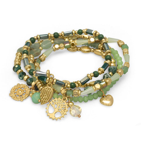 Set of 5 Gold Tone Fashion Stretch Bracelets with Green Stones