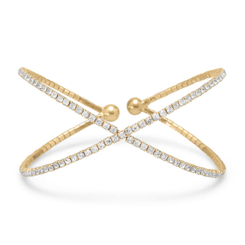 Gold Tone Criss Cross