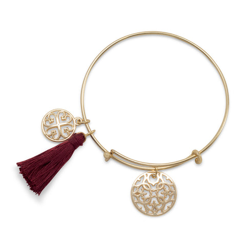 Gold Tone Expandable Burgundy Tassel Charm Fashion Bangle Bracelet