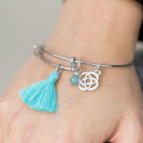 Expandable Turquoise Tassel Celtic Charm Fashion Bangle Bracelet