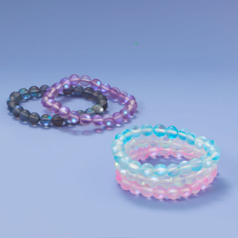 Think Pink! Iridescent Glass Stretch Bracelet